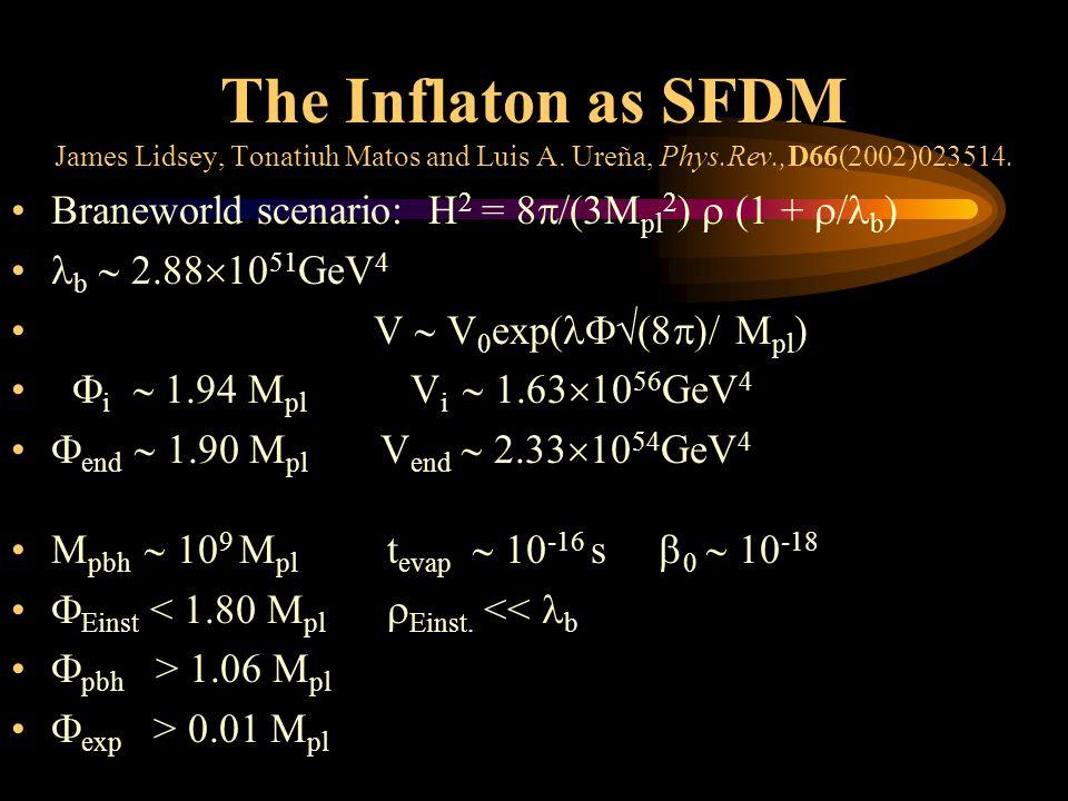 The Inflaton as SFDM James Lidsey, Tonatiuh Matos and Luis A.