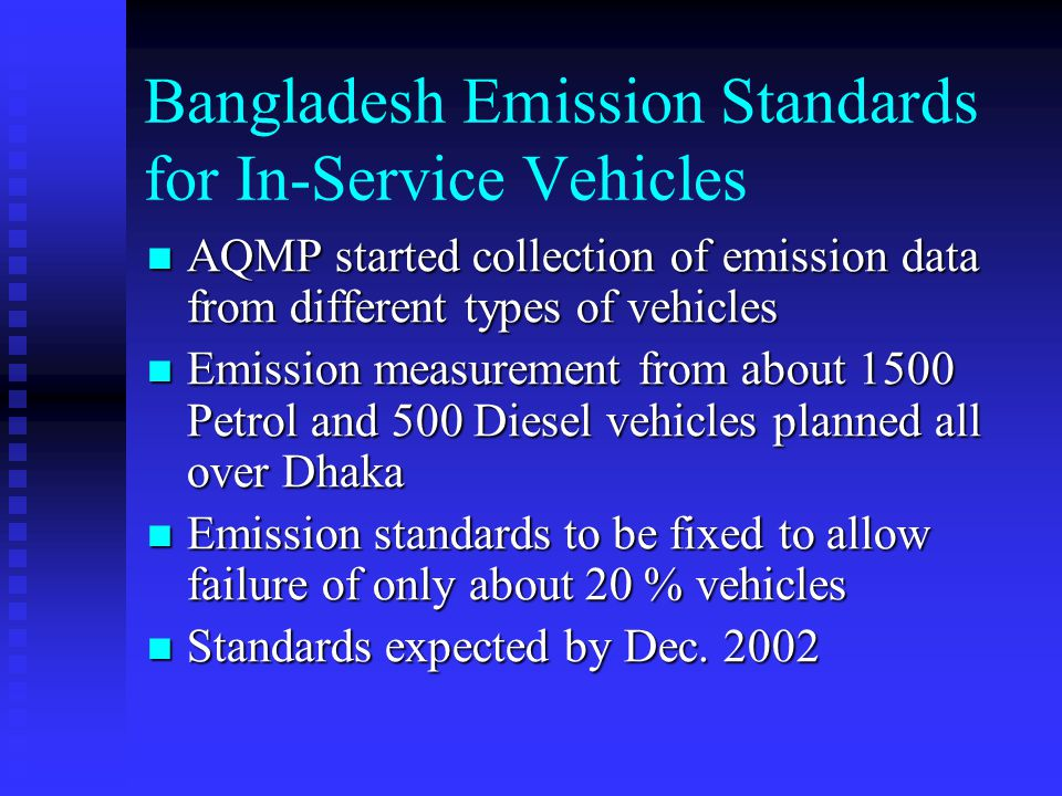 Measurement of in-use vehicle emissions Diesel vehicles Smoke Petrol Vehicles CO and HC