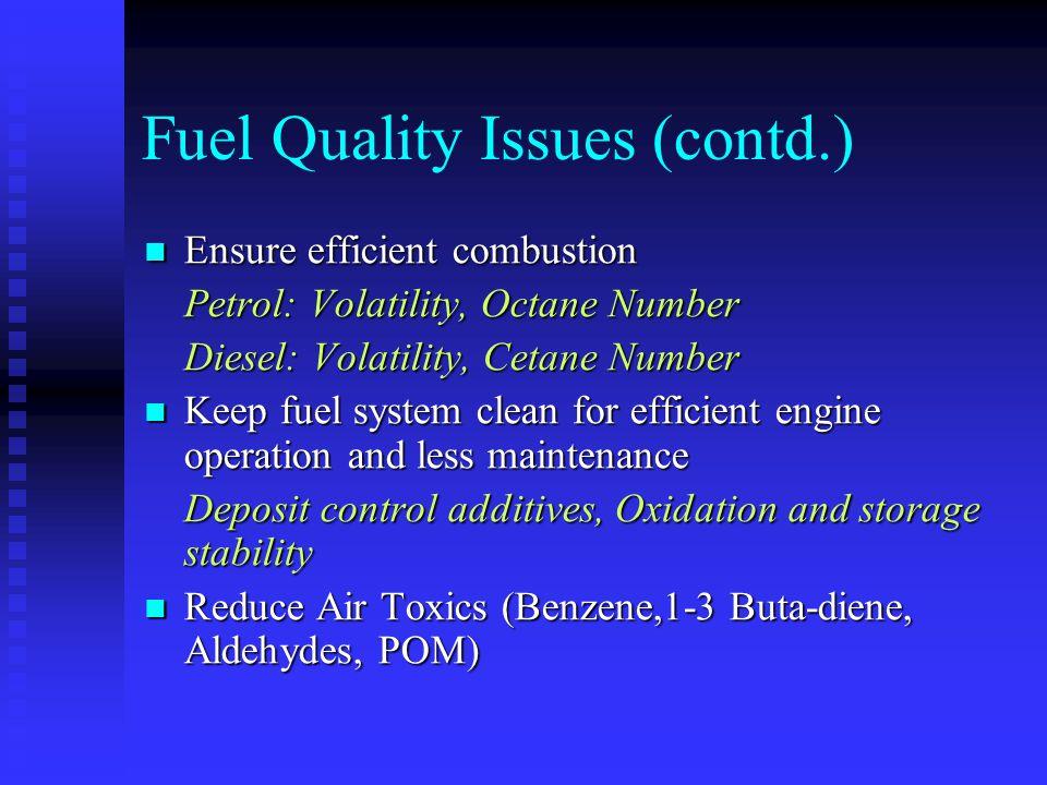 Fuel Quality in Bangladesh Petrol Petrol -Already Lead Free: Euro1 cars employ Cat.Converters Cat.Converters - Sulfur( Specs.