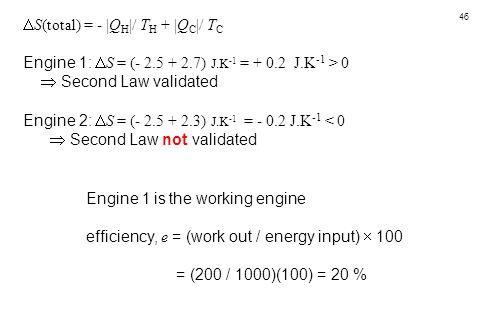 46  S(total) = -  Q H  / T H +  Q C  / T C Engine 1:  S = (- 2.5 + 2.7) J.K -1 = + 0.2 J.K -1 > 0  Second Law validated Engine 2:  S = (- 2.5 + 2.
