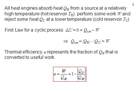 5 All heat engines absorb heat Q H from a source at a relatively high temperature (hot reservoir T H ), perform some work W and reject some heat Q C a