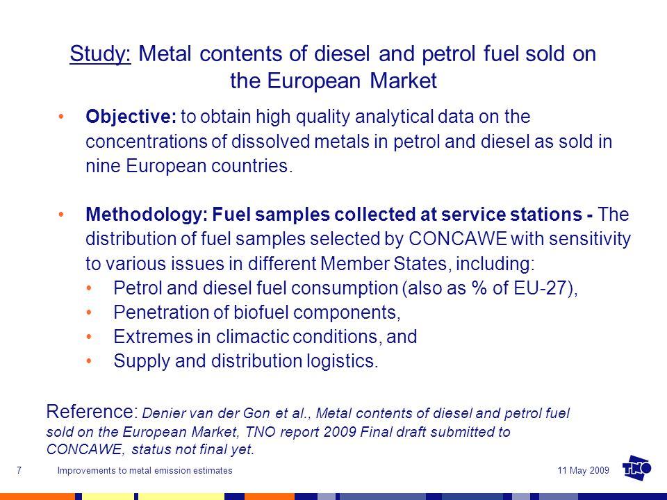 11 May 2009Improvements to metal emission estimates8 ES 5 20 PL 5 NL 5 DE 10 20 IT 10 15 UK 15 FR 10 20 SE 5 FI 5 Country Nr.