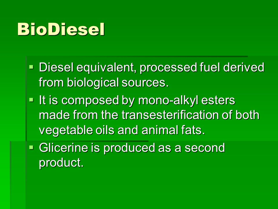 Obtaining Biodiesel