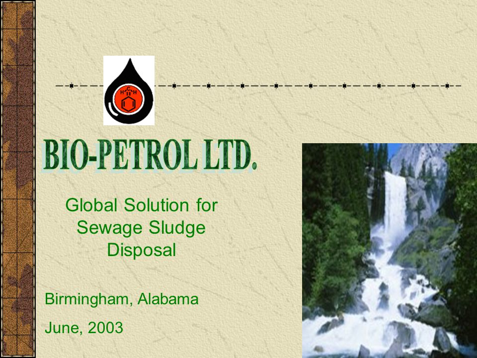 Global Solution for Sewage Sludge Disposal Birmingham, Alabama June, 2003