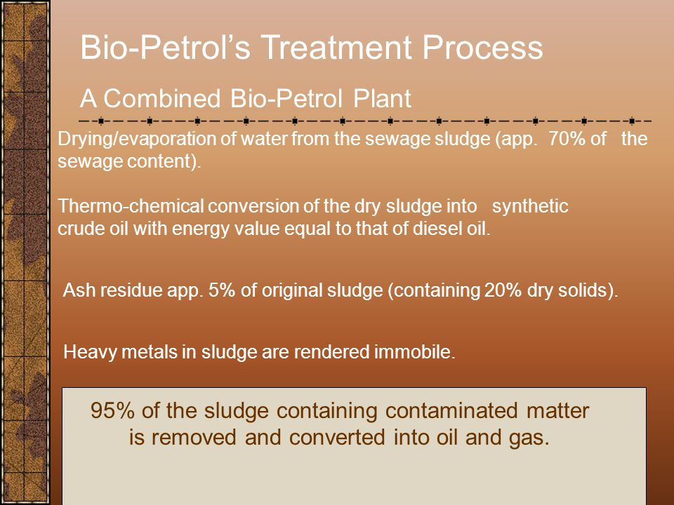 Bio-Petrol's Treatment Process A Combined Bio-Petrol Plant Drying/evaporation of water from the sewage sludge (app.