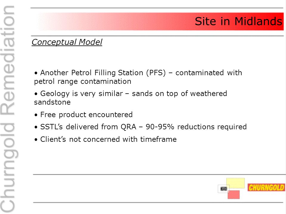 Site in Midlands Conceptual Model Another Petrol Filling Station (PFS) – contaminated with petrol range contamination Geology is very similar – sands on top of weathered sandstone Free product encountered SSTL's delivered from QRA – 90-95% reductions required Client's not concerned with timeframe