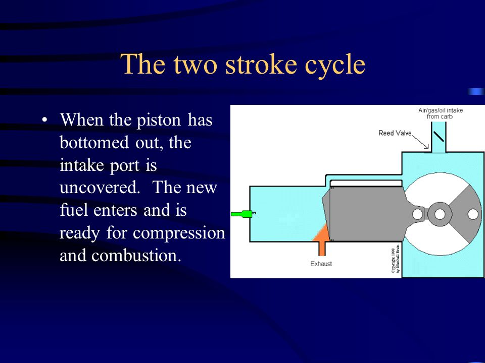 The two stroke cycle After the fuel air explosion, the piston is driven down.