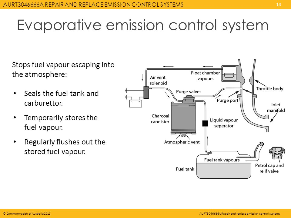 AURT3046666A REPAIR AND REPLACE EMISSION CONTROL SYSTEMS 14 © Commonwealth of Australia 2011AURT3046666A Repair and replace emission control systems Evaporative emission control system Seals the fuel tank and carburettor.