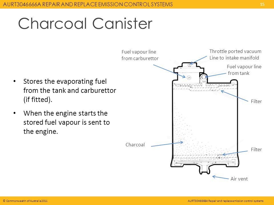 AURT3046666A REPAIR AND REPLACE EMISSION CONTROL SYSTEMS 15 © Commonwealth of Australia 2011AURT3046666A Repair and replace emission control systems Charcoal Canister Stores the evaporating fuel from the tank and carburettor (if fitted).