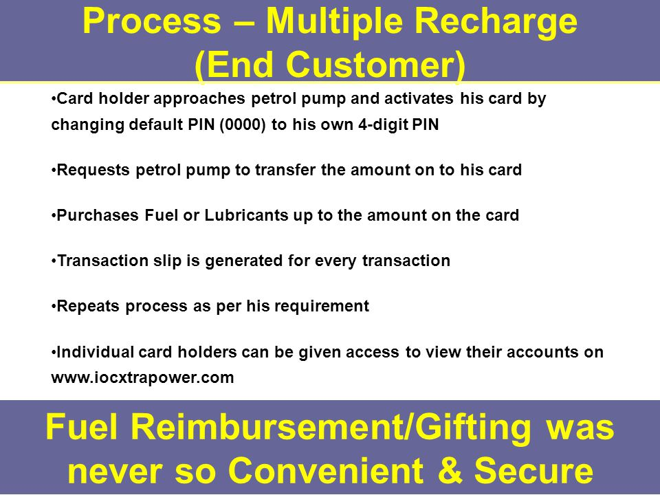Process – Multiple Recharge (End Customer) Fuel Reimbursement/Gifting was never so Convenient & Secure Card holder approaches petrol pump and activates his card by changing default PIN (0000) to his own 4-digit PIN Requests petrol pump to transfer the amount on to his card Purchases Fuel or Lubricants up to the amount on the card Transaction slip is generated for every transaction Repeats process as per his requirement Individual card holders can be given access to view their accounts on www.iocxtrapower.com