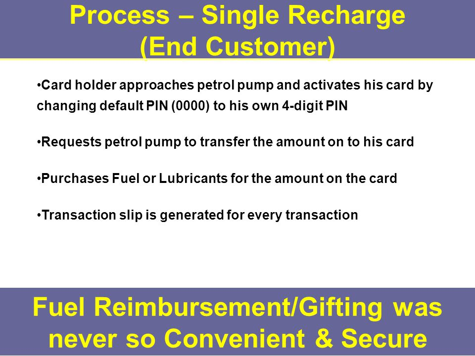 Process – Single Recharge (End Customer) Fuel Reimbursement/Gifting was never so Convenient & Secure Card holder approaches petrol pump and activates his card by changing default PIN (0000) to his own 4-digit PIN Requests petrol pump to transfer the amount on to his card Purchases Fuel or Lubricants for the amount on the card Transaction slip is generated for every transaction