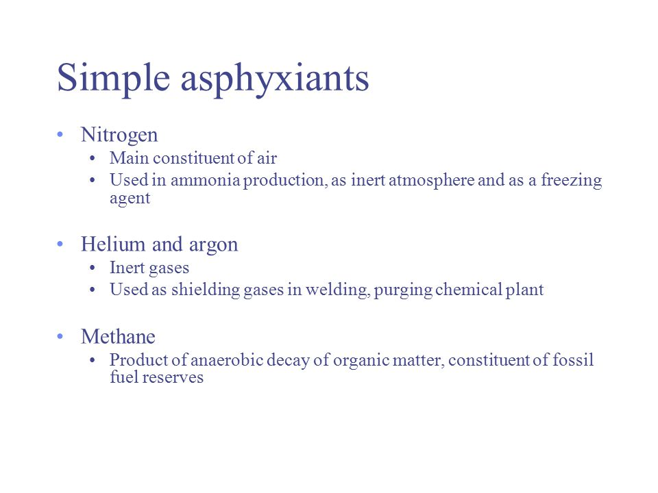 Chemical asphyxiants Chemical asphyxiants act by reacting with blood or tissue so that the blood or tissue is unable to make use of the available oxygen and chemical asphyxiation occurs i.e.