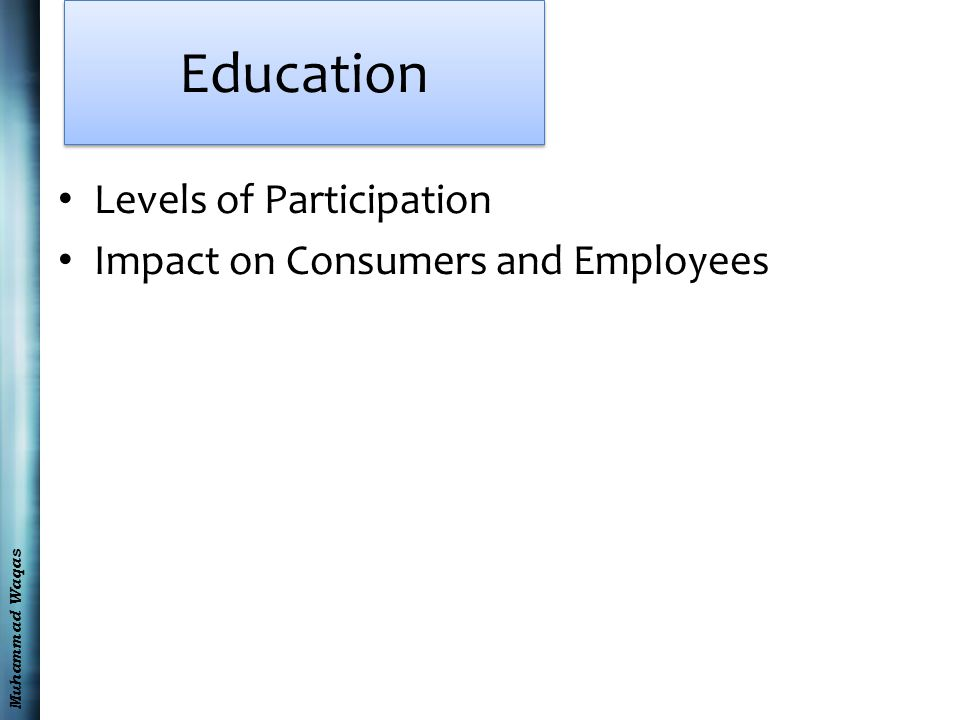 Muhammad Waqas Education Levels of Participation Impact on Consumers and Employees