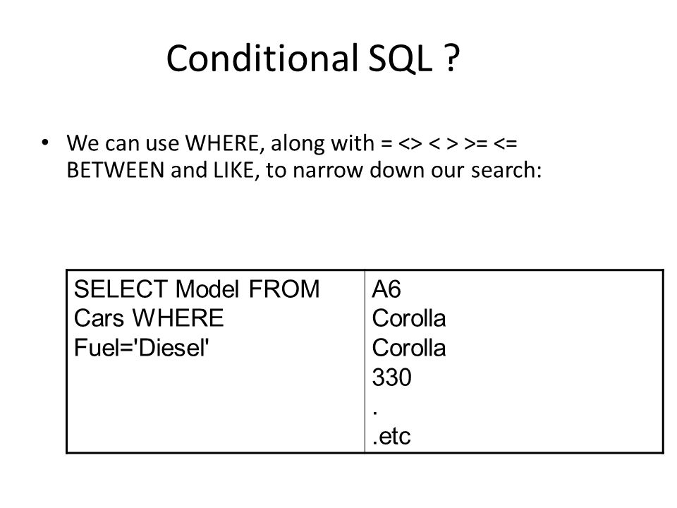 Conditional SQL .