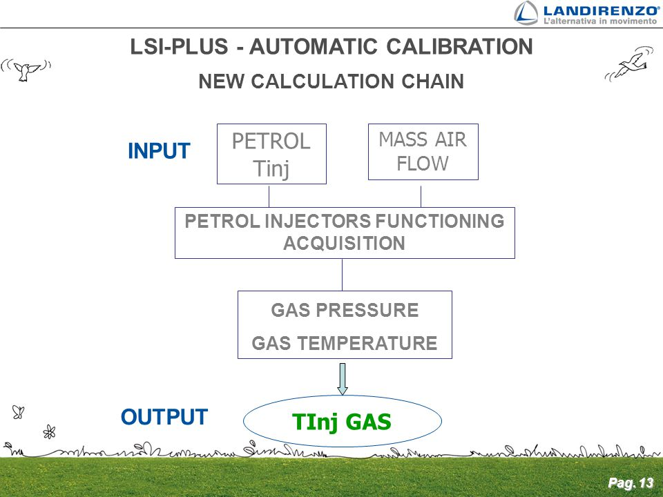 Pag. 13 LSI-PLUS - AUTOMATIC CALIBRATION NEW CALCULATION CHAIN INPUT PETROL Tinj MASS AIR FLOW PETROL INJECTORS FUNCTIONING ACQUISITION GAS PRESSURE G