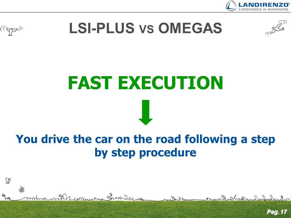 Pag. 17 FAST EXECUTION You drive the car on the road following a step by step procedure LSI-PLUS VS OMEGAS