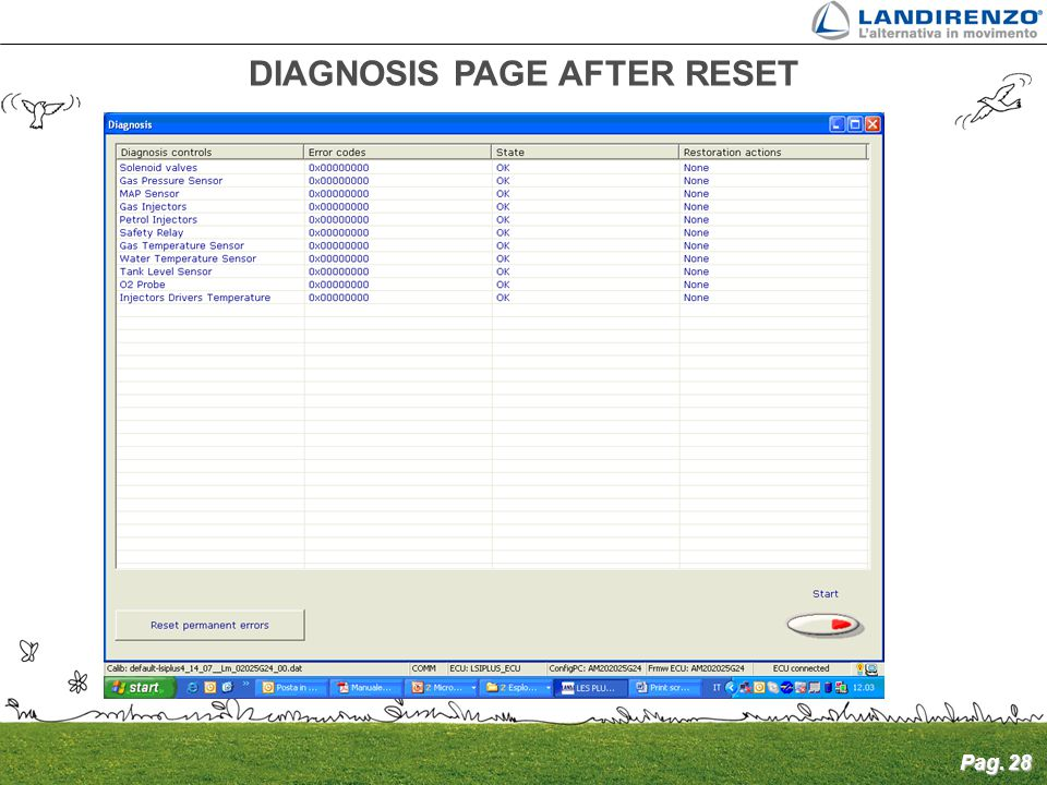 Pag. 28 DIAGNOSIS PAGE AFTER RESET