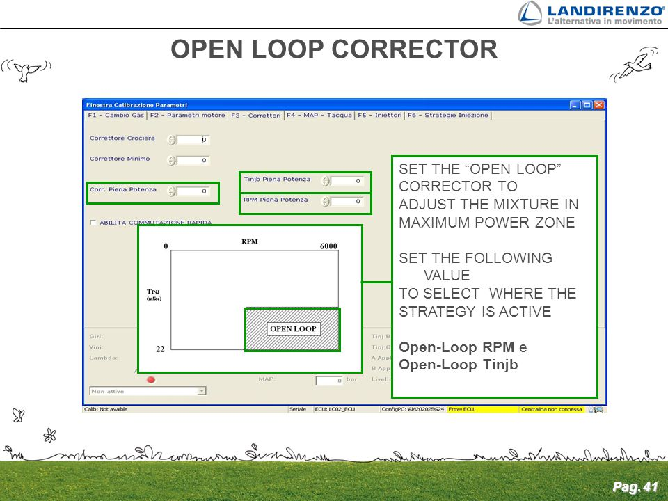 "Pag. 41 SET THE ""OPEN LOOP"" CORRECTOR TO ADJUST THE MIXTURE IN MAXIMUM POWER ZONE SET THE FOLLOWING VALUE TO SELECT WHERE THE STRATEGY IS ACTIVE Open-"