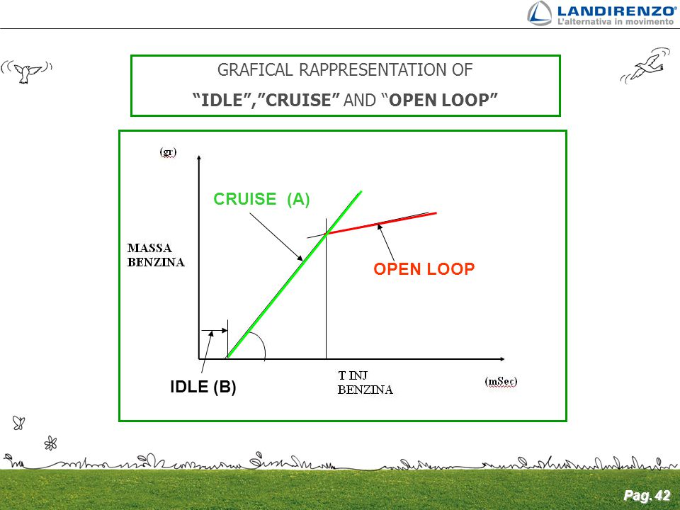 "Pag. 42 GRAFICAL RAPPRESENTATION OF ""IDLE"",""CRUISE"" AND ""OPEN LOOP"" IDLE (B) CRUISE (A) OPEN LOOP"