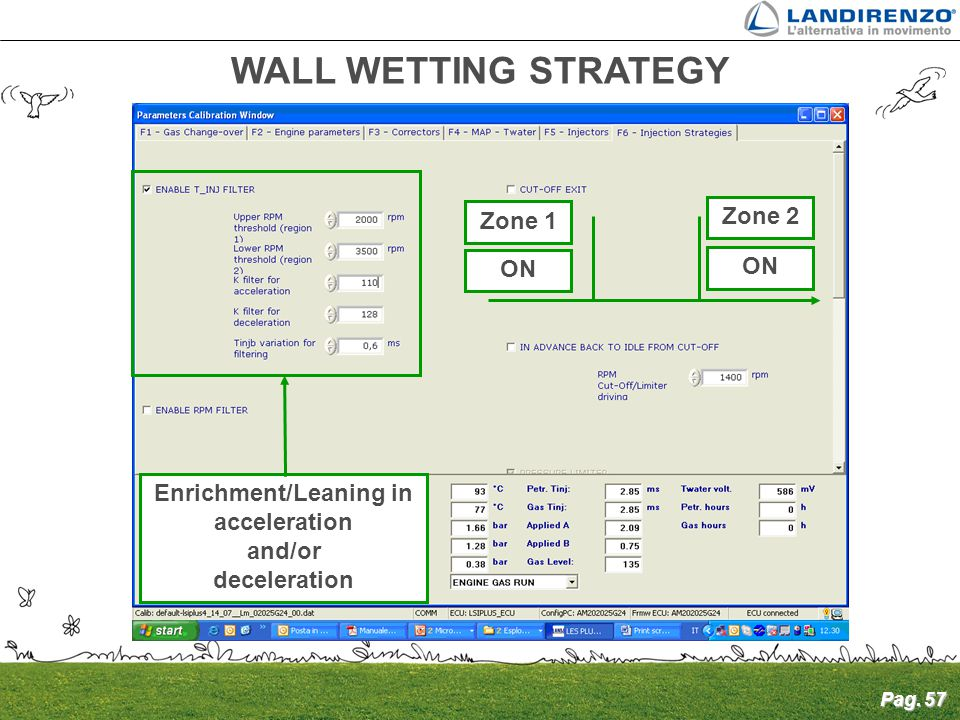 Pag. 57 WALL WETTING STRATEGY Enrichment/Leaning in acceleration and/or deceleration ON Zone 1 Zone 2 ON