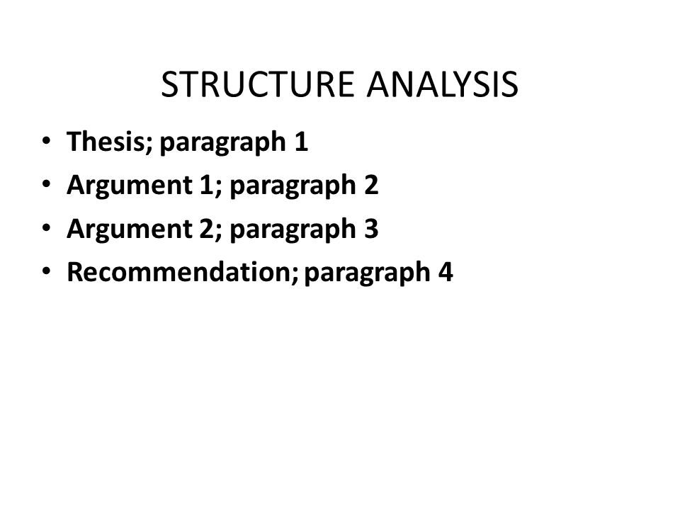 STRUCTURE ANALYSIS Thesis; paragraph 1 Argument 1; paragraph 2 Argument 2; paragraph 3 Recommendation; paragraph 4