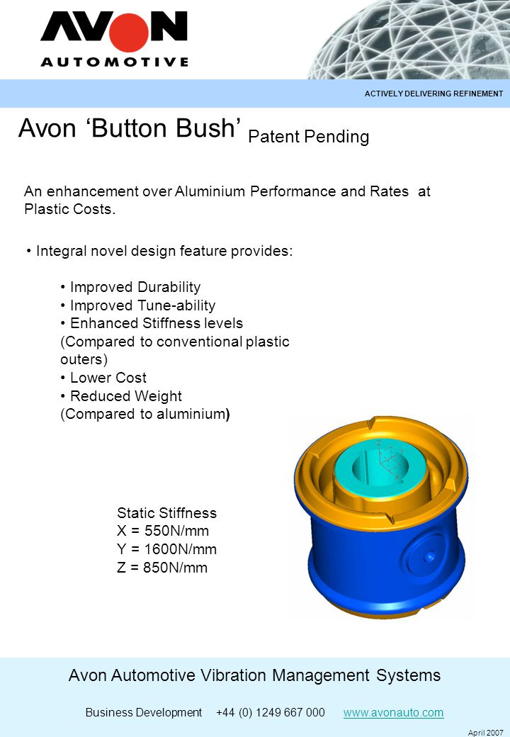 Avon Automotive Vibration Management Systems Business Development +44 (0) 1249 667 000 www.avonauto.comwww.avonauto.com April 2007 ACTIVELY DELIVERING REFINEMENT Avon 'Button Bush' Patent Pending Integral novel design feature provides: Improved Durability Improved Tune-ability Enhanced Stiffness levels (Compared to conventional plastic outers) Lower Cost Reduced Weight (Compared to aluminium) An enhancement over Aluminium Performance and Rates at Plastic Costs.