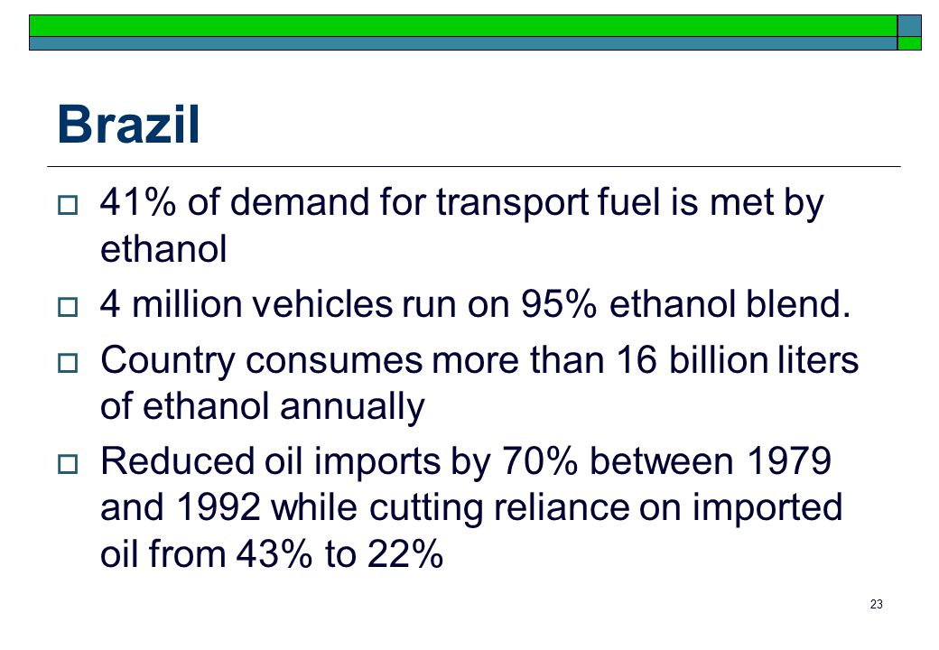 23 Brazil  41% of demand for transport fuel is met by ethanol  4 million vehicles run on 95% ethanol blend.
