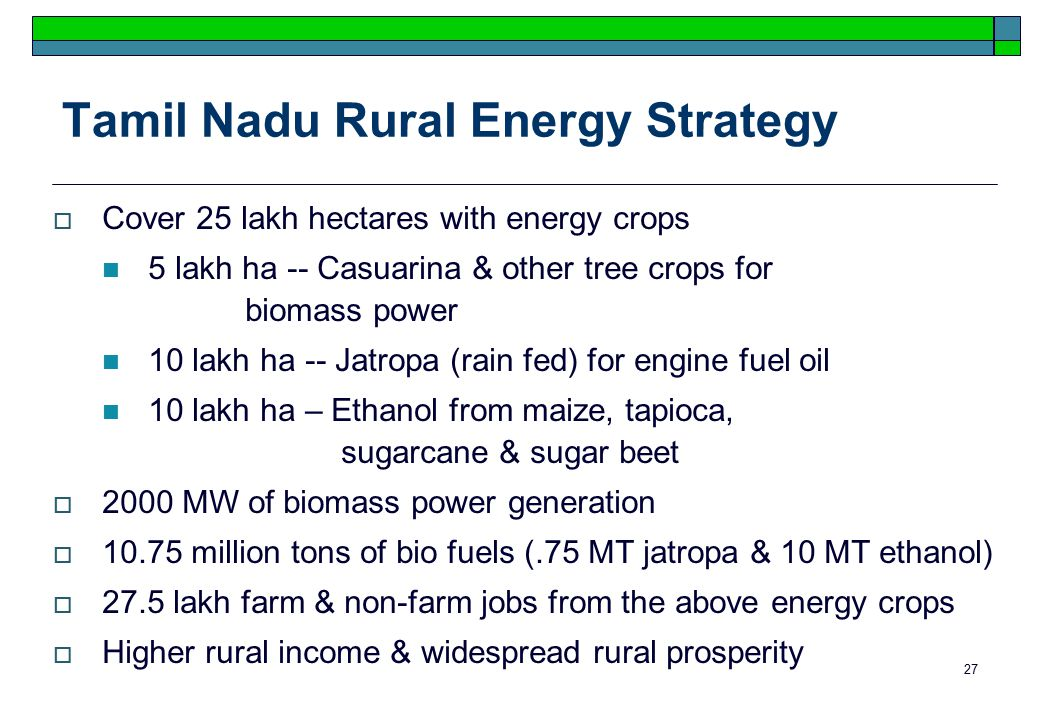 27 Tamil Nadu Rural Energy Strategy  Cover 25 lakh hectares with energy crops 5 lakh ha -- Casuarina & other tree crops for biomass power 10 lakh ha -- Jatropa (rain fed) for engine fuel oil 10 lakh ha – Ethanol from maize, tapioca, sugarcane & sugar beet  2000 MW of biomass power generation  10.75 million tons of bio fuels (.75 MT jatropa & 10 MT ethanol)  27.5 lakh farm & non-farm jobs from the above energy crops  Higher rural income & widespread rural prosperity