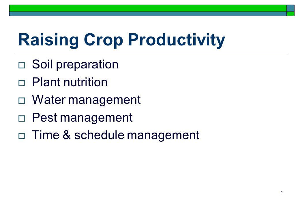 7 Raising Crop Productivity  Soil preparation  Plant nutrition  Water management  Pest management  Time & schedule management
