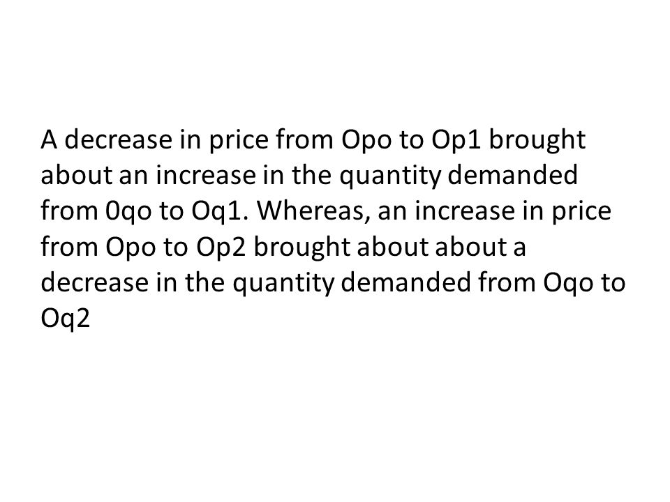 A decrease in price from Opo to Op1 brought about an increase in the quantity demanded from 0qo to Oq1. Whereas, an increase in price from Opo to Op2