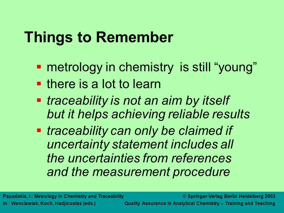 Papadakis, I.: Metrology in Chemistry and Traceability © Springer-Verlag Berlin Heidelberg 2003 In: Wenclawiak, Koch, Hadjicostas (eds.) Quality Assurance in Analytical Chemistry – Training and Teaching More Information  www.bipm.org  www.euromet.ch  www.citac.ws  www.eurachem.org  www.eurolab.bam.de  www.irmm.jrc.be  www.nist.gov