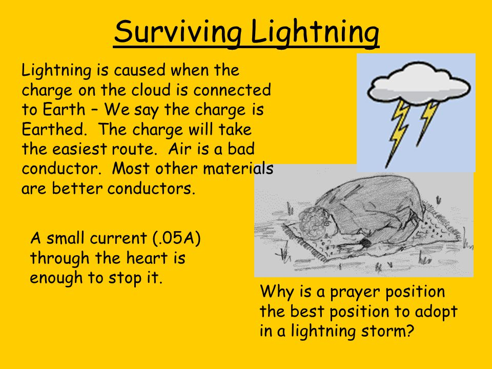 Surviving Lightning Lightning is caused when the charge on the cloud is connected to Earth – We say the charge is Earthed. The charge will take the ea
