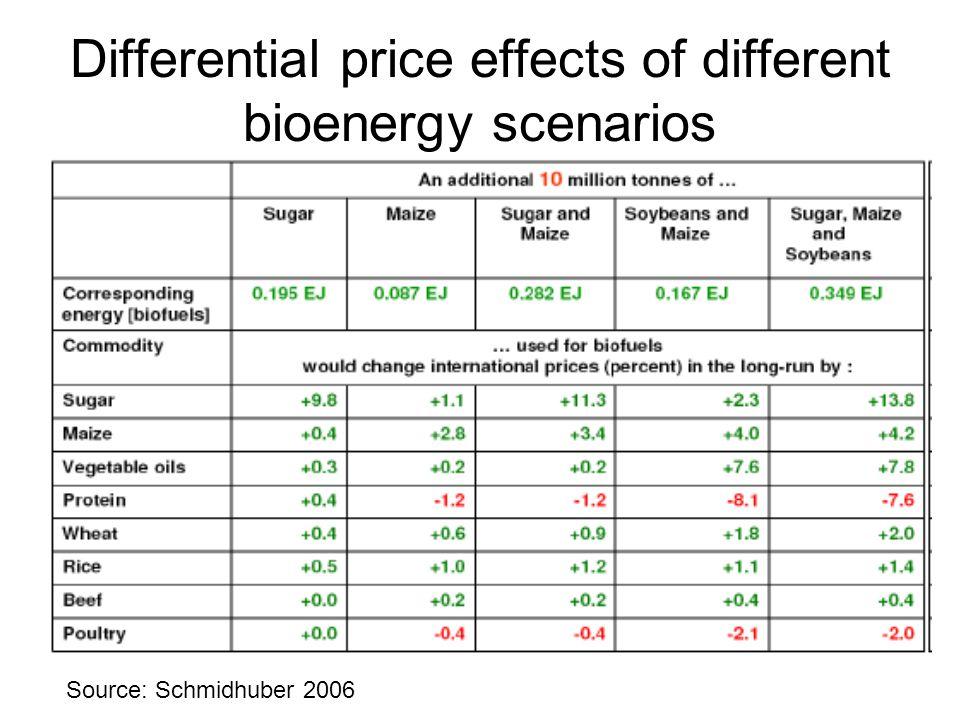 Differential price effects of different bioenergy scenarios Source: Schmidhuber 2006