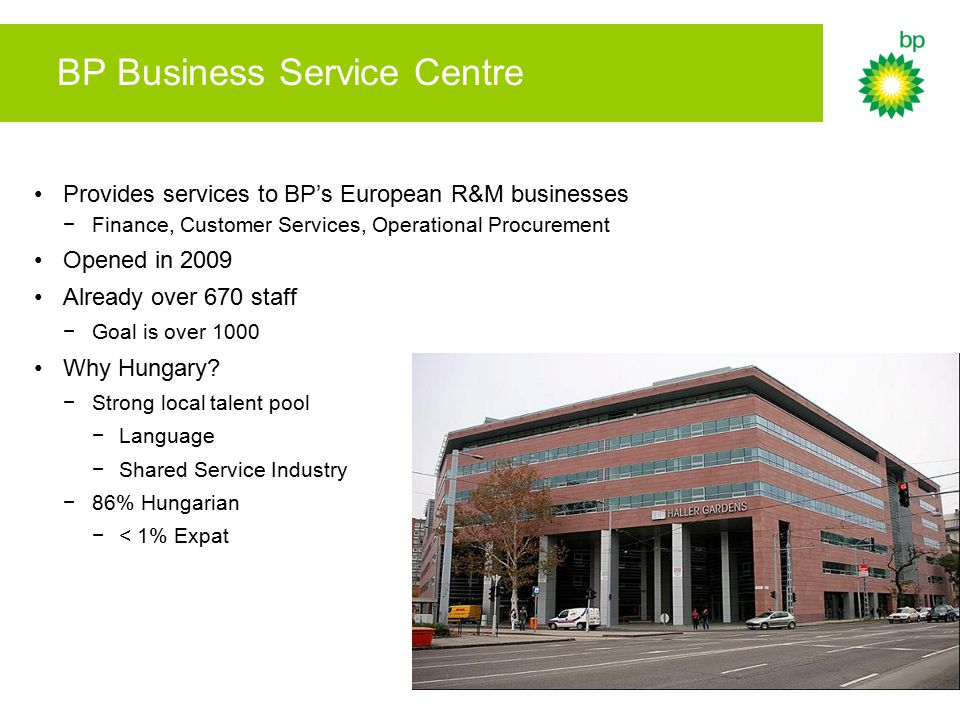 BP Business Service Centre Provides services to BP's European R&M businesses −Finance, Customer Services, Operational Procurement Opened in 2009 Alrea