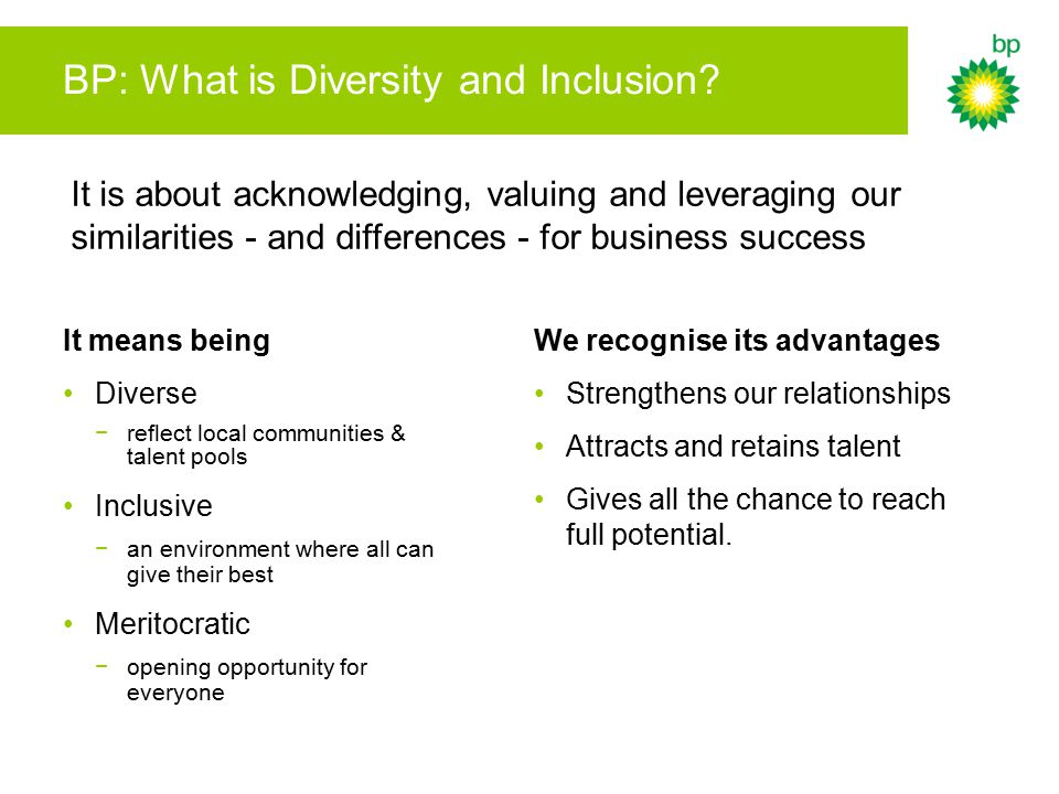 BP: What is Diversity and Inclusion.