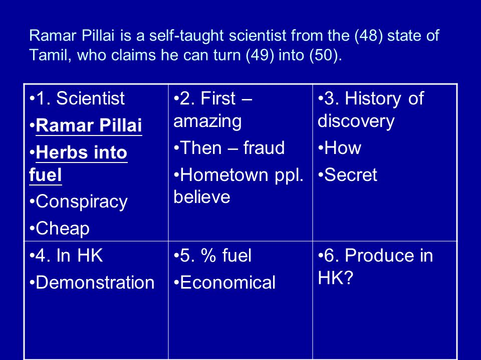 Burning issue of herbal fuel 1. Scientist Ramar Pillai Herbs into fuel Conspiracy Cheap 2. First – amazing Then – fraud Hometown ppl. believe 3. Histo