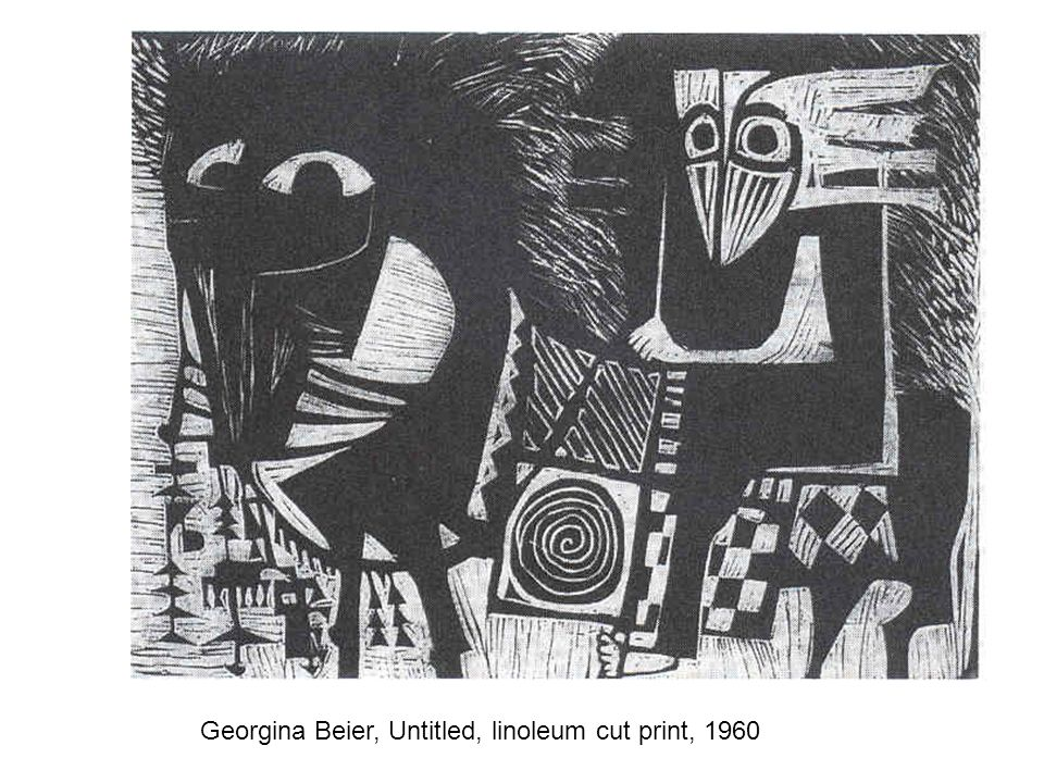 Georgina Beier, Untitled, linoleum cut print, 1960
