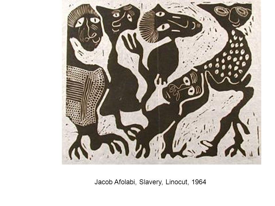 Jacob Afolabi, Slavery, Linocut, 1964