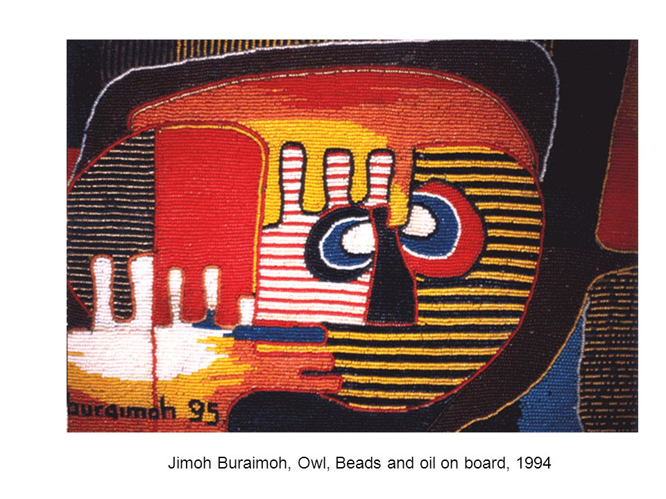 Jimoh Buraimoh, Owl, Beads and oil on board, 1994