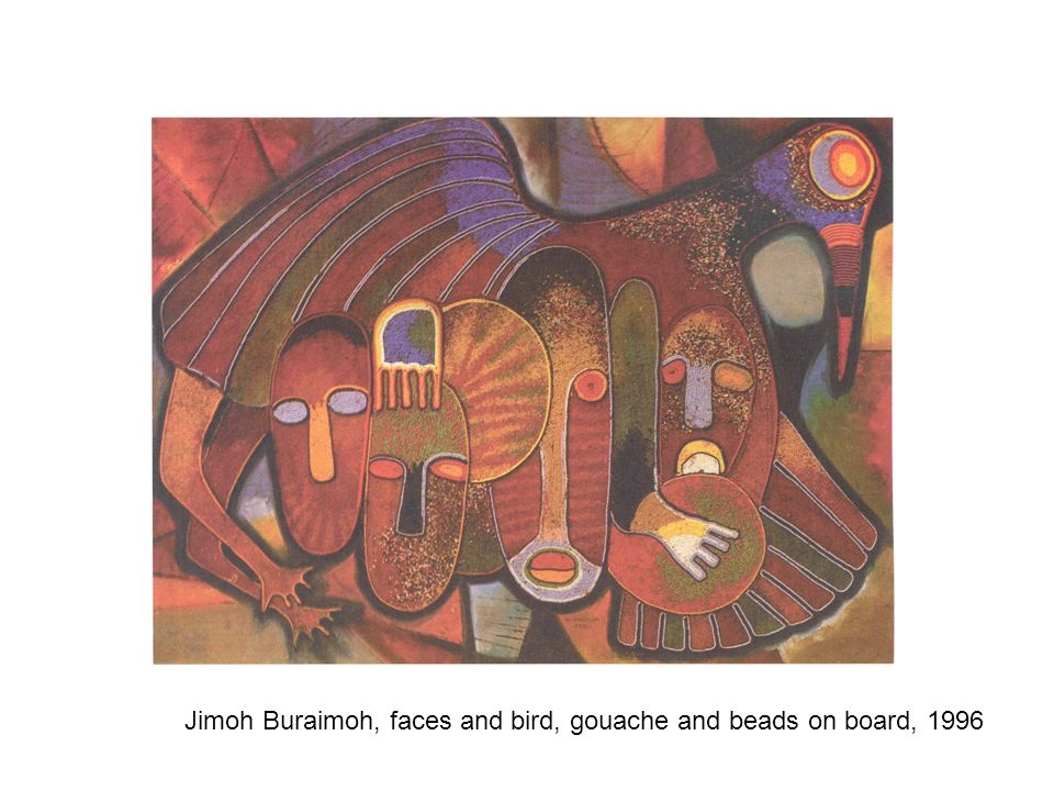 Jimoh Buraimoh, faces and bird, gouache and beads on board, 1996