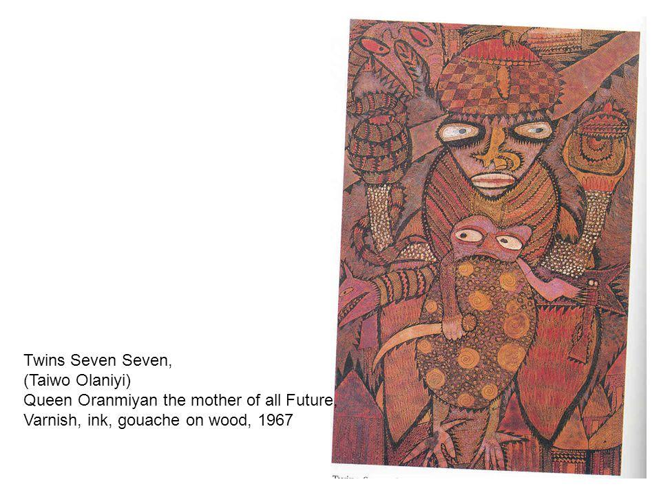 Twins Seven Seven, (Taiwo Olaniyi) Queen Oranmiyan the mother of all Future, Varnish, ink, gouache on wood, 1967