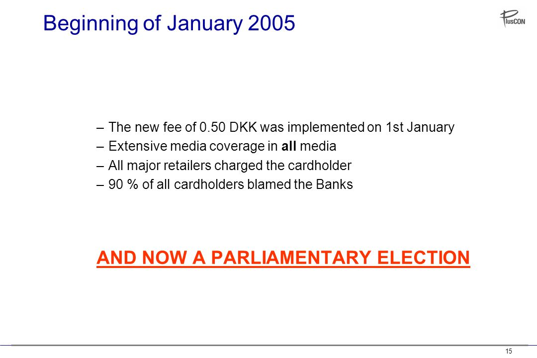 15 Beginning of January 2005 –The new fee of 0.50 DKK was implemented on 1st January –Extensive media coverage in all media –All major retailers charged the cardholder –90 % of all cardholders blamed the Banks AND NOW A PARLIAMENTARY ELECTION