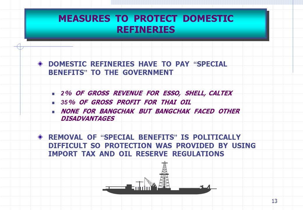 """13 MEASURES TO PROTECT DOMESTIC REFINERIES DOMESTIC REFINERIES HAVE TO PAY """" SPECIAL BENEFITS """" TO THE GOVERNMENT 2% OF GROSS REVENUE FOR ESSO, SHELL,"""
