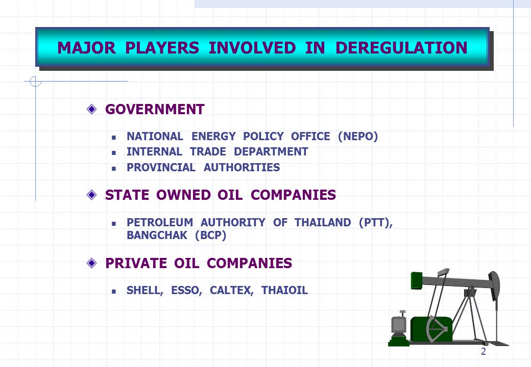 2 MAJOR PLAYERS INVOLVED IN DEREGULATION GOVERNMENT NATIONAL ENERGY POLICY OFFICE (NEPO) INTERNAL TRADE DEPARTMENT PROVINCIAL AUTHORITIES STATE OWNED