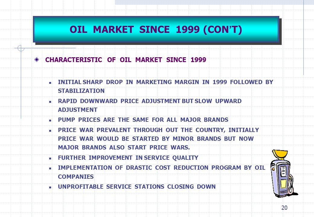 20 OIL MARKET SINCE 1999 (CON ' T) CHARACTERISTIC OF OIL MARKET SINCE 1999 INITIAL SHARP DROP IN MARKETING MARGIN IN 1999 FOLLOWED BY STABILIZATION RA