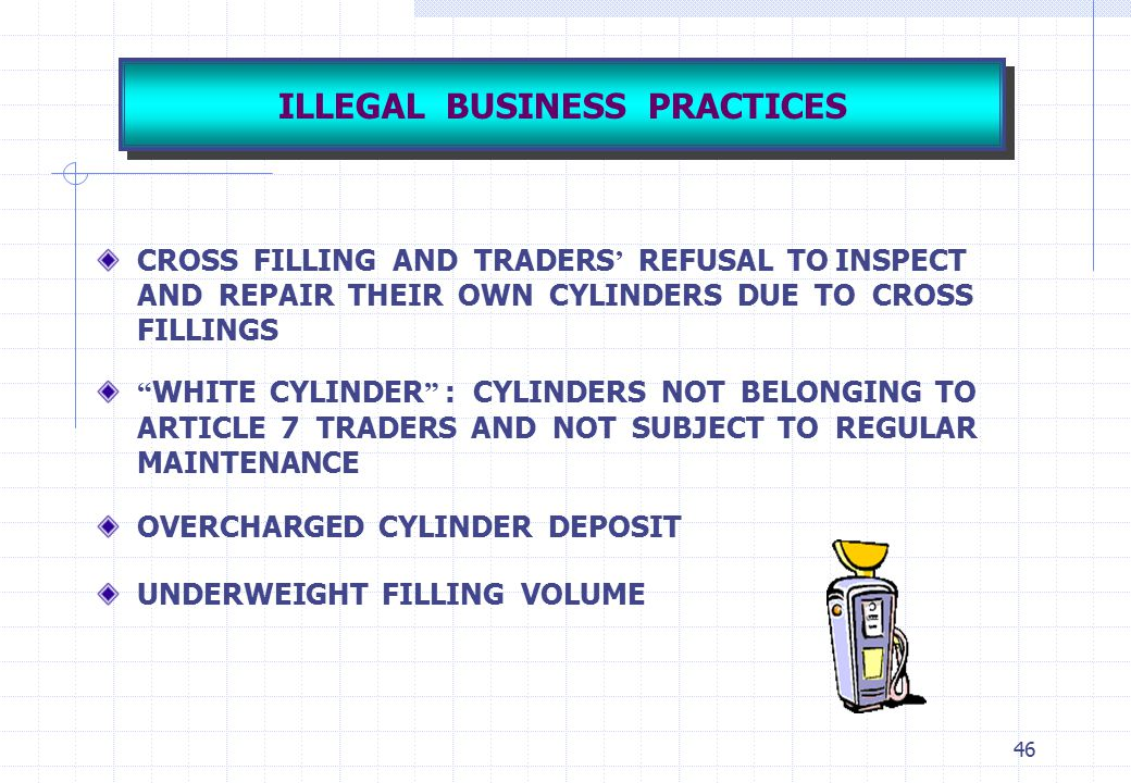 """46 ILLEGAL BUSINESS PRACTICES CROSS FILLING AND TRADERS ' REFUSAL TO INSPECT AND REPAIR THEIR OWN CYLINDERS DUE TO CROSS FILLINGS """" WHITE CYLINDER """" :"""