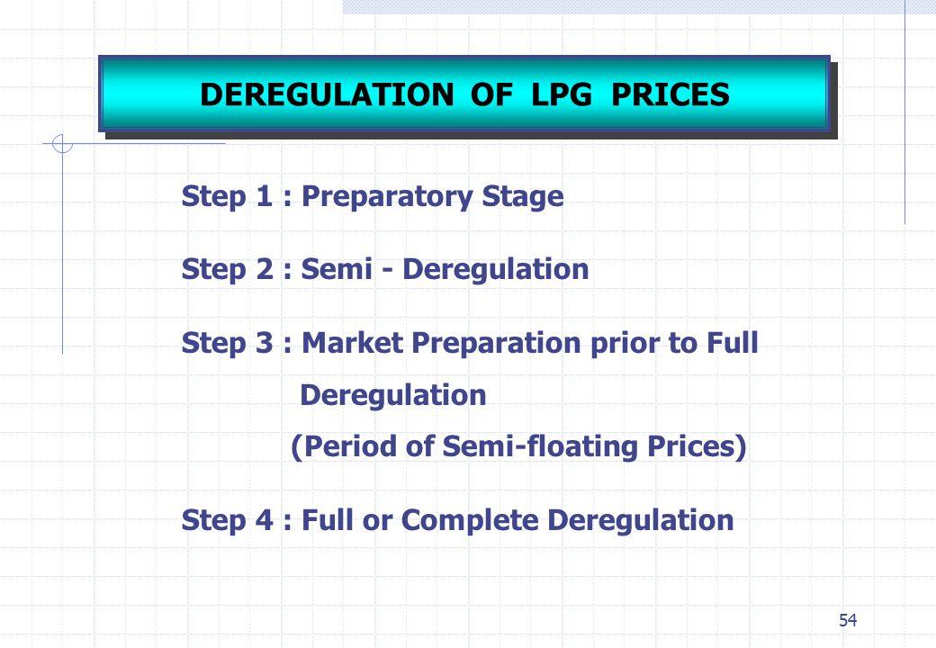 54 Step 1 : Preparatory Stage Step 2 : Semi - Deregulation Step 3 : Market Preparation prior to Full Deregulation (Period of Semi-floating Prices) Ste