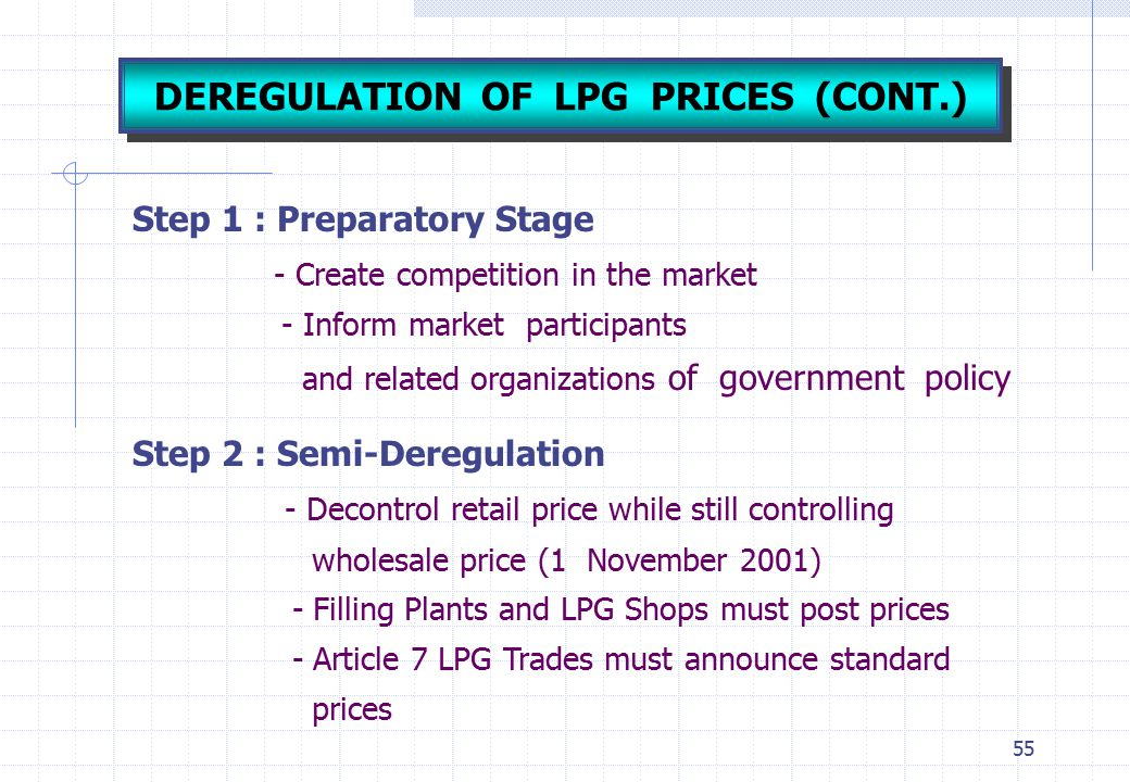 55 Step 1 : Preparatory Stage - Create competition in the market - Inform market participants and related organizations of government policy Step 2 :