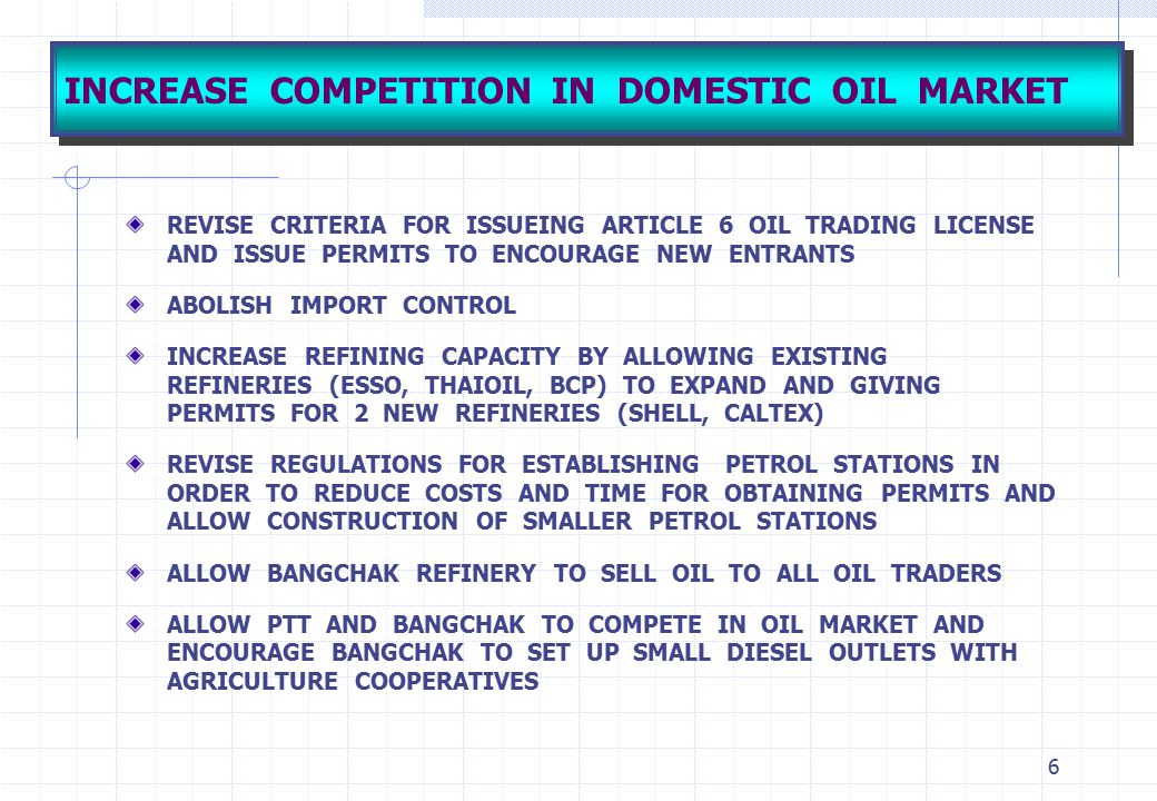6 INCREASE COMPETITION IN DOMESTIC OIL MARKET REVISE CRITERIA FOR ISSUEING ARTICLE 6 OIL TRADING LICENSE AND ISSUE PERMITS TO ENCOURAGE NEW ENTRANTS A