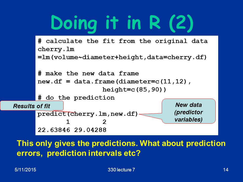 5/11/2015330 lecture 714 Doing it in R (2) This only gives the predictions.